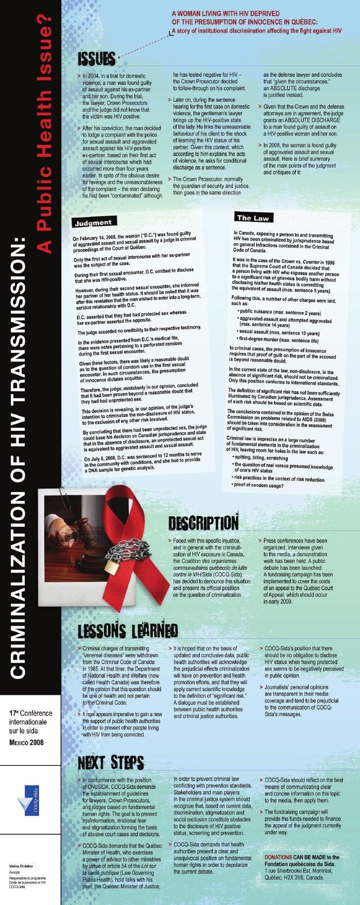 Criminalisation de l'exposition au VIH