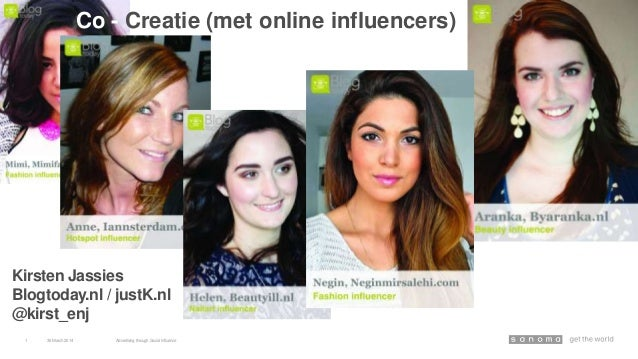 30March 2014 Advertising through Social Influence1 Co - Creatie (met online influencers) Kirsten Jassies Blogtoday.nl / ju...