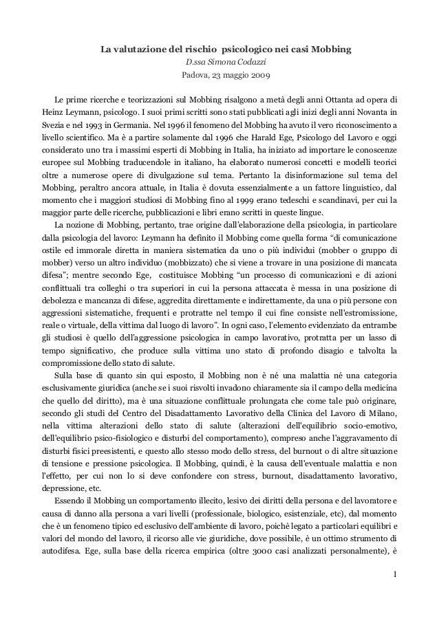 La valutazione del rischio psicologico nei casi Mobbing - D.ssa Simona Codazzi