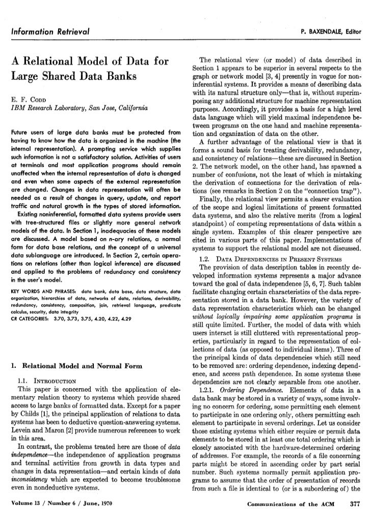 A Relational Model of Data for Large Shared Data Banks
