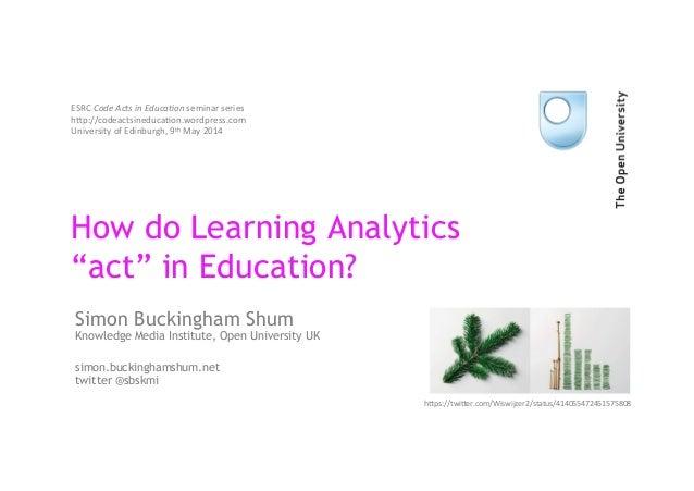"How do Learning Analytics ""act"" in Education? Simon Buckingham Shum Knowledge Media Institute, Open University UK simon.bu..."