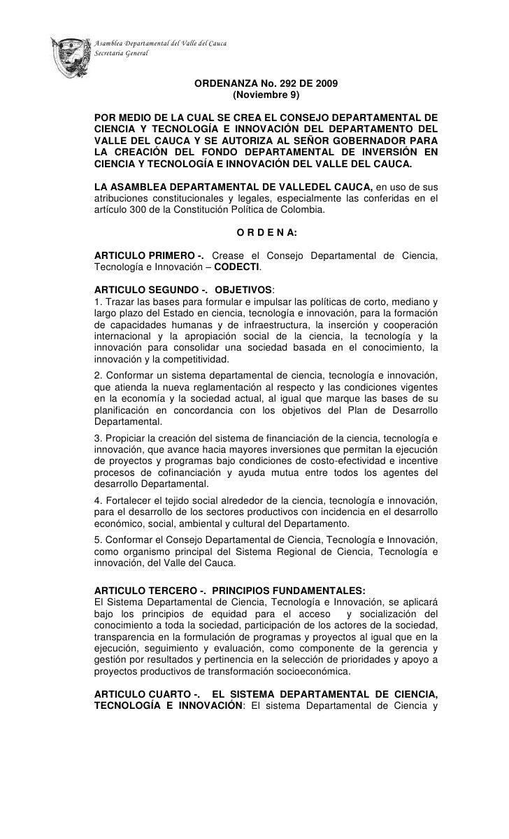 CODECTI - Ordenanza No. 292 de 2009