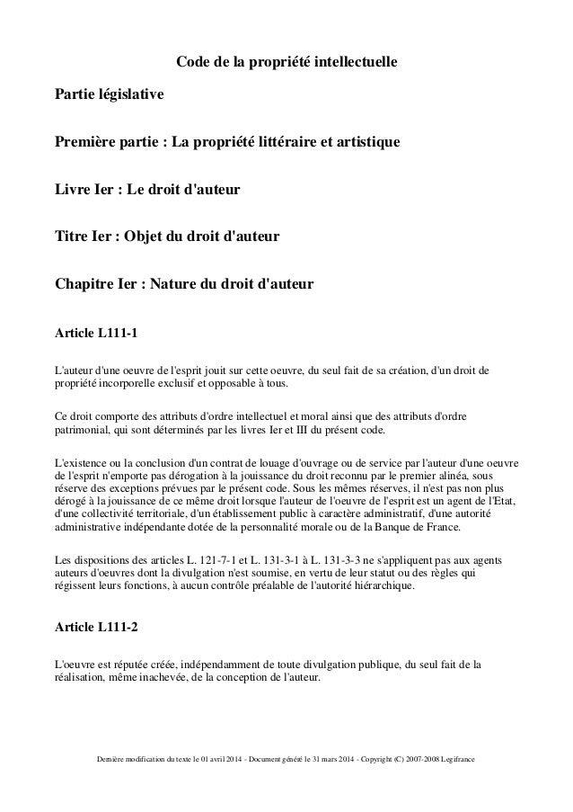Code de la propriété intellectuelle  Partie législative  Première partie : La propriété littéraire et artistique  Livre Ie...