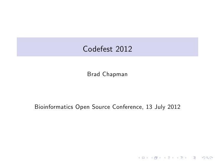 B Chapman - Codefest BOSC2012