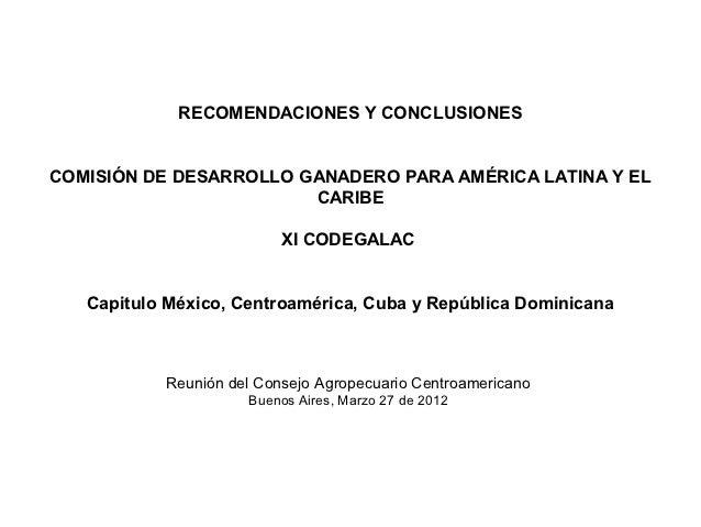 RECOMENDACIONES Y CONCLUSIONESCOMISIÓN DE DESARROLLO GANADERO PARA AMÉRICA LATINA Y EL                        CARIBE      ...