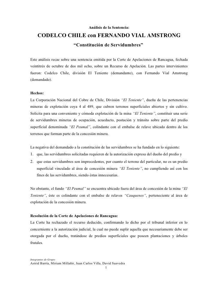 """Análisis de la Sentencia:     CODELCO CHILE con FERNANDO VIAL AMSTRONG                             """"Constitución de Servid..."""