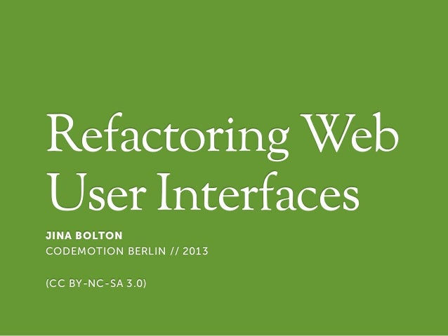 UI Realigning & Refactoring by Jina Bolton