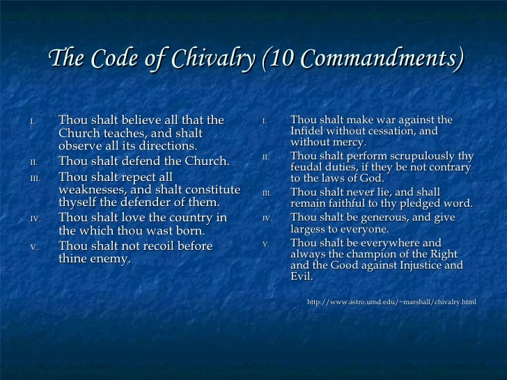essay on the code of chivalry Read this essay on is chivalry dead the code of chivalry is a code of conduct that reflected bravery and service to others.