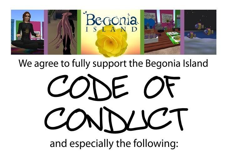 Begonia Island Code of Conduct Display