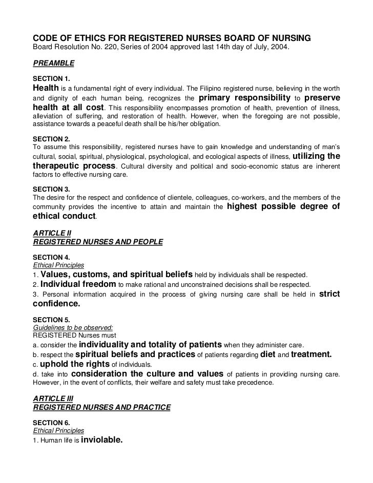 CODE OF ETHICS FOR REGISTERED NURSES BOARD OF NURSINGBoard Resolution No. 220, Series of 2004 approved last 14th day of Ju...