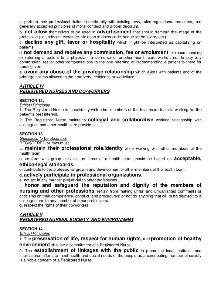 filipino nurses code of ethics To the philippine nurses association of america by fens seeking legal advice  results:through a july  developed the voluntary code of ethical conduct.
