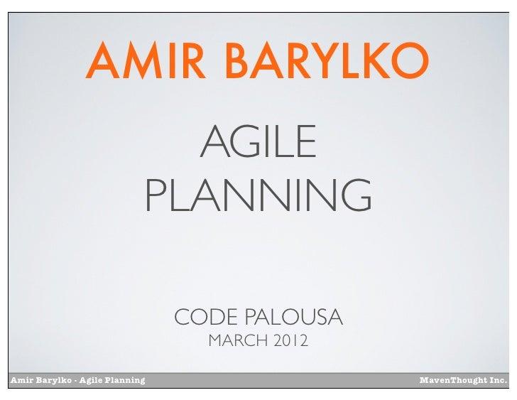 AMIR BARYLKO                              AGILE                            PLANNING                                CODE PA...