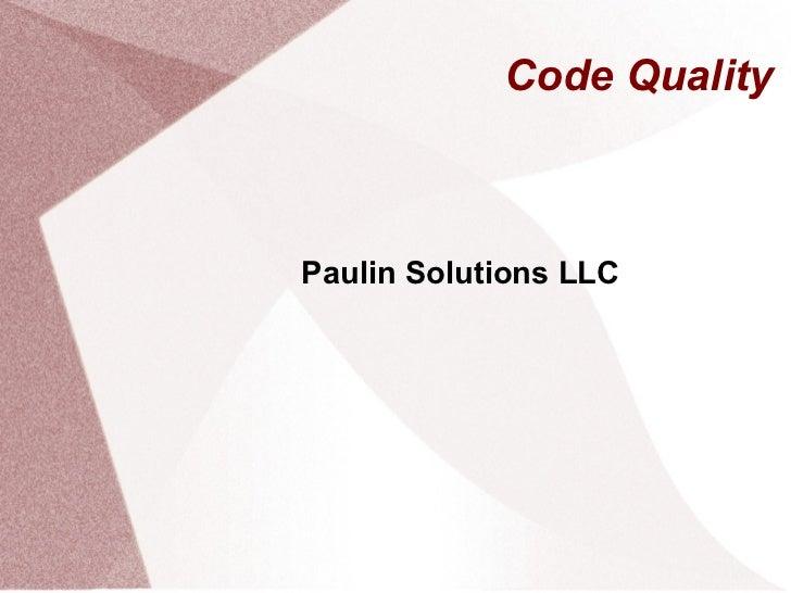 Code Quality Paulin Solutions LLC