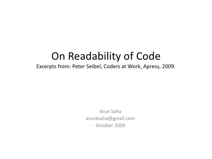 On Readability of Code