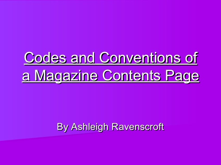 Codes and conventions of a magazine contents page