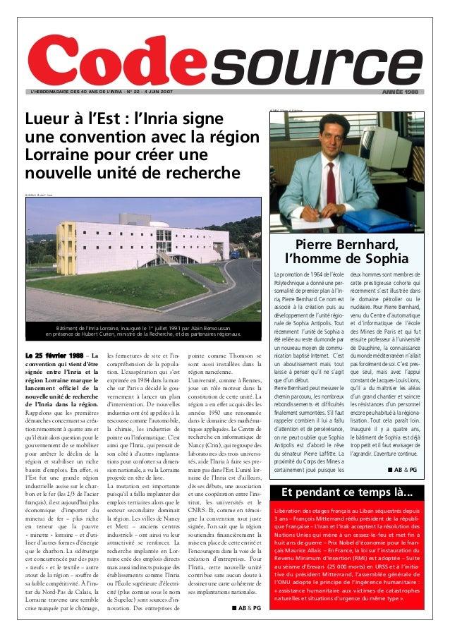 L'HEBDOMADAIRE DES 40 ANS DE L'INRIA - N O 22 - 4 JUIN 2OO7                                                               ...