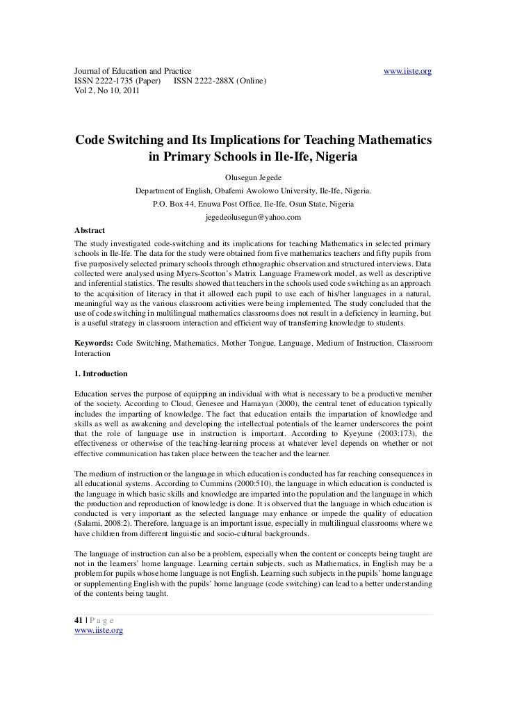 Code switching and its implications for teaching mathematics in primary schools in ile ife, nigeria