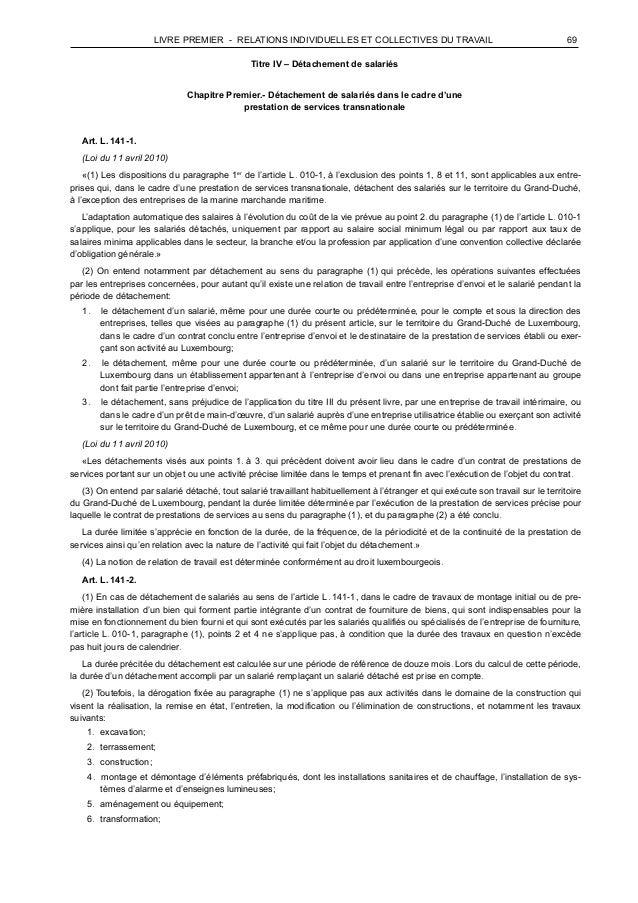LIVRE PREMIER - RELATIONS INDIVIDUELLES ET COLLECTIVES DU TRAVAIL 69    Titre IV – Détachement de salariés       Cha...