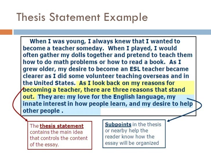 Sample Thesis Statements  continued