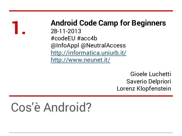 Android Code Camp for Beginners - Ecosistema Android (IT)