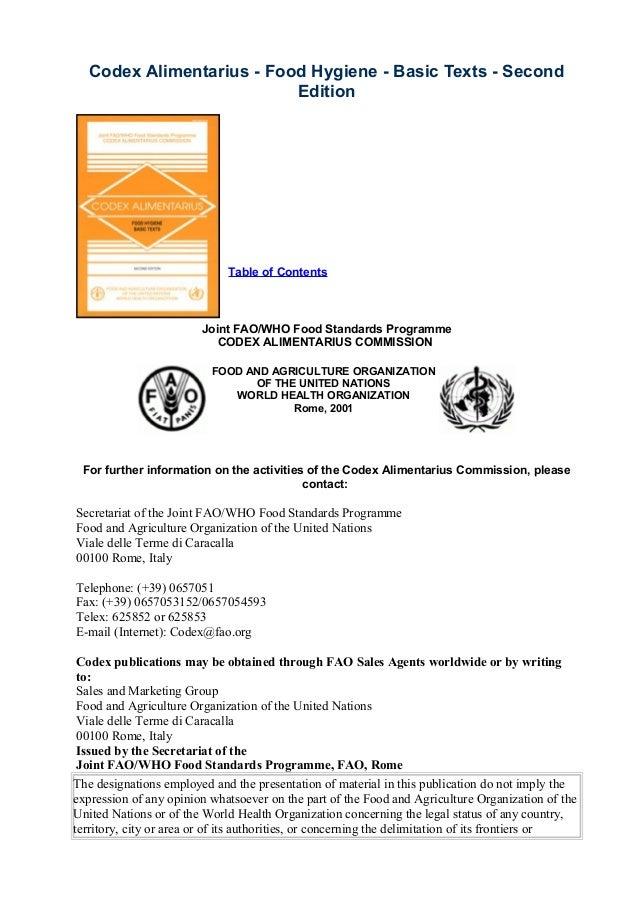 Codex alimentarius   food hygiene - basic texts - second edi