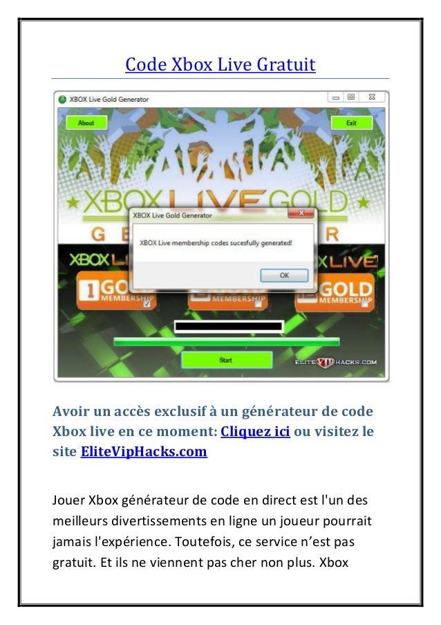 Code Xbox Live Gratuit Avoir un accès exclusif à un générateur de code Xbox live en ce moment: Cliquez ici ou visitez le s...