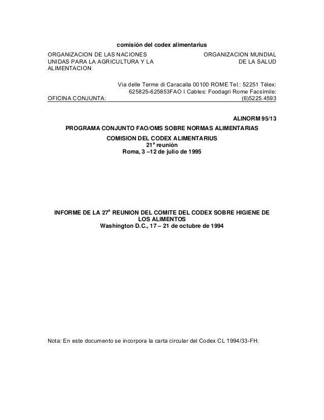 comisión del codex alimentariusORGANIZACION DE LAS NACIONES                              ORGANIZACION MUNDIALUNIDAS PARA L...
