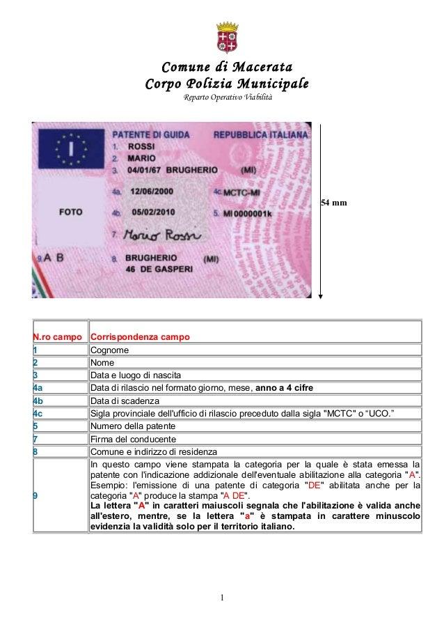 Comune di Macerata Corpo Polizia Municipale Reparto Operativo Viabilità N.ro campo Corrispondenza campo 1 Cognome 2 Nome 3...