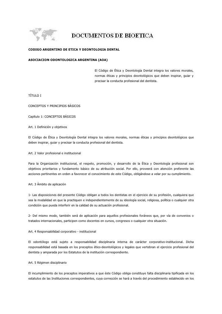 Codigo Argentino De Etica Y Deontologia Dental