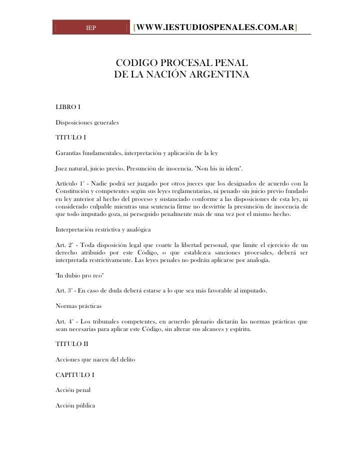 Codigo Procesal Penal De La Nacion Argentina www.iestudiospenales.com.ar