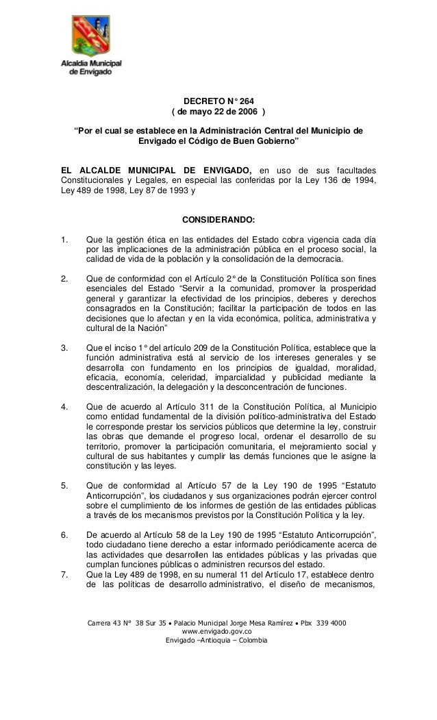"""DECRETO N° 264 ( de mayo 22 de 2006 ) """"Por el cual se establece en la Administración Central del Municipio de Envigado el ..."""