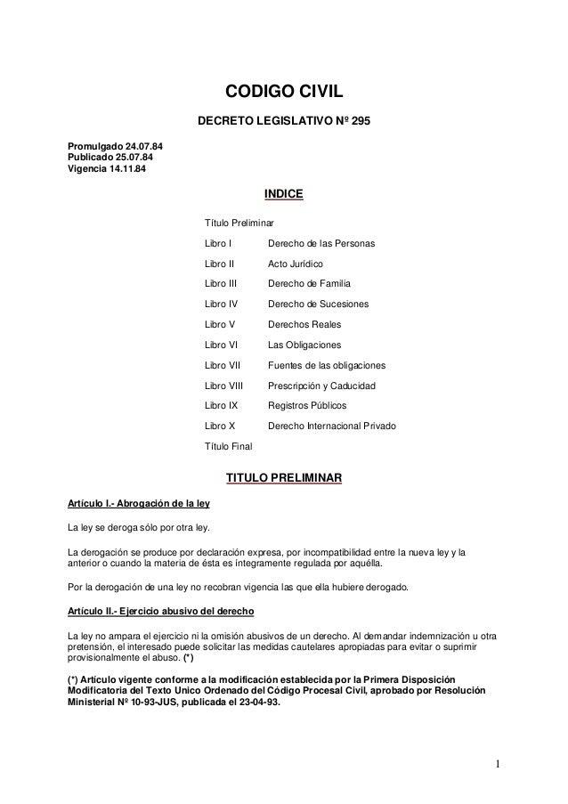 CODIGO CIVIL                               DECRETO LEGISLATIVO Nº 295Promulgado 24.07.84Publicado 25.07.84Vigencia 14.11.8...