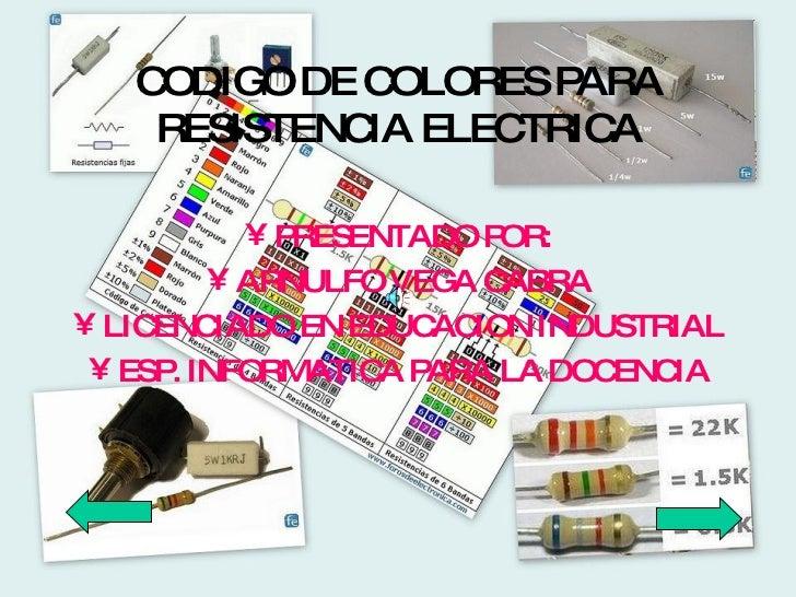 CODIGO DE COLORES PARA RESISTENCIA ELECTRICA <ul><li>PRESENTADO POR: </li></ul><ul><li>ARNULFO VEGA CABRA </li></ul><ul><l...