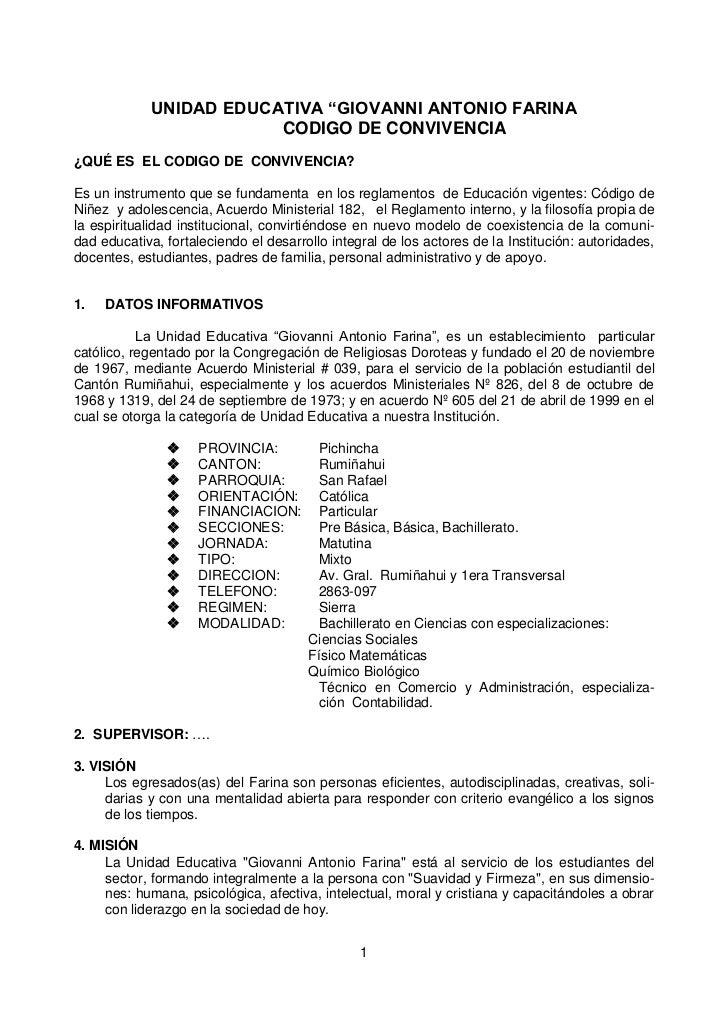 """UNIDAD EDUCATIVA """"GIOVANNI ANTONIO FARINA                          CODIGO DE CONVIVENCIA ¿QUÉ ES EL CODIGO DE CONVIVENCIA?..."""