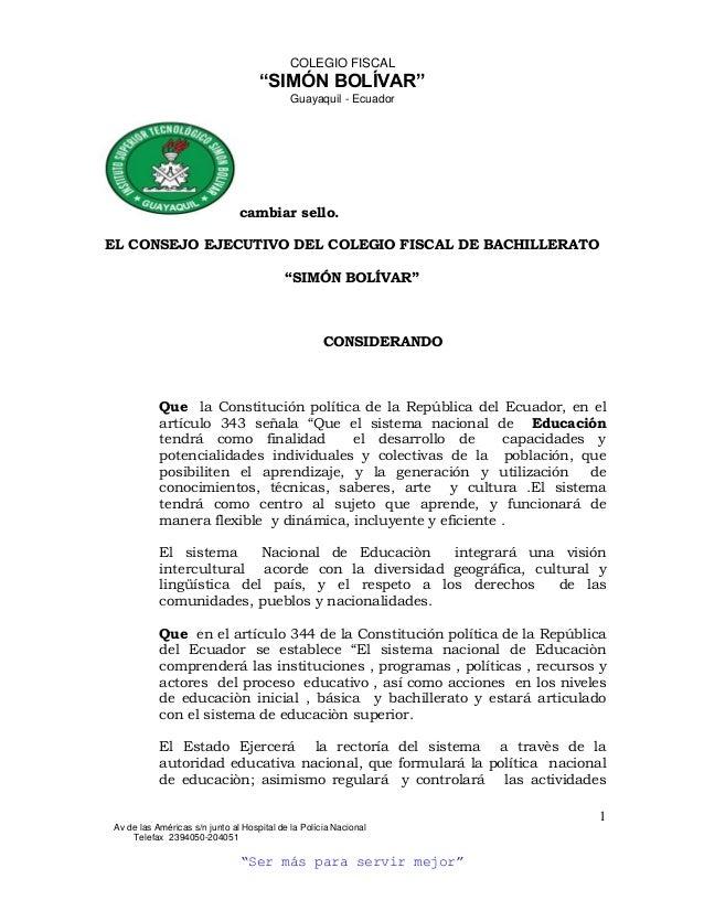 """COLEGIO FISCAL                                    """"SIMÓN BOLÍVAR""""                                           Guayaquil - Ec..."""