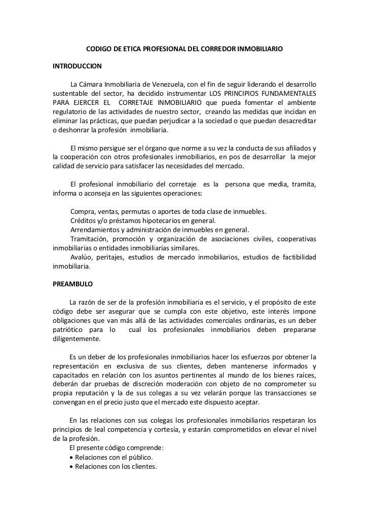 Codigo De Etica Profesional Del Corredor Inmobiliario