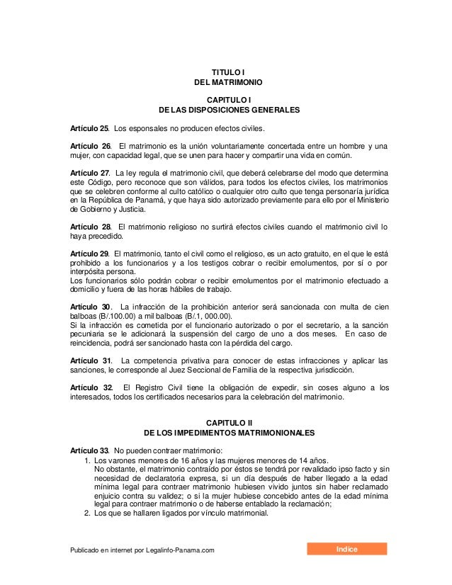 TITULO I                                       DEL MATRIMONIO                                       CAPITULO I            ...