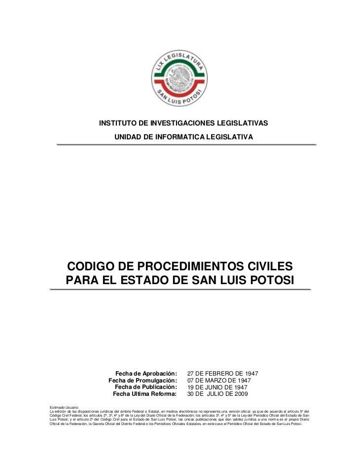 Codigo de procedimientos civiles San Luis Potosi
