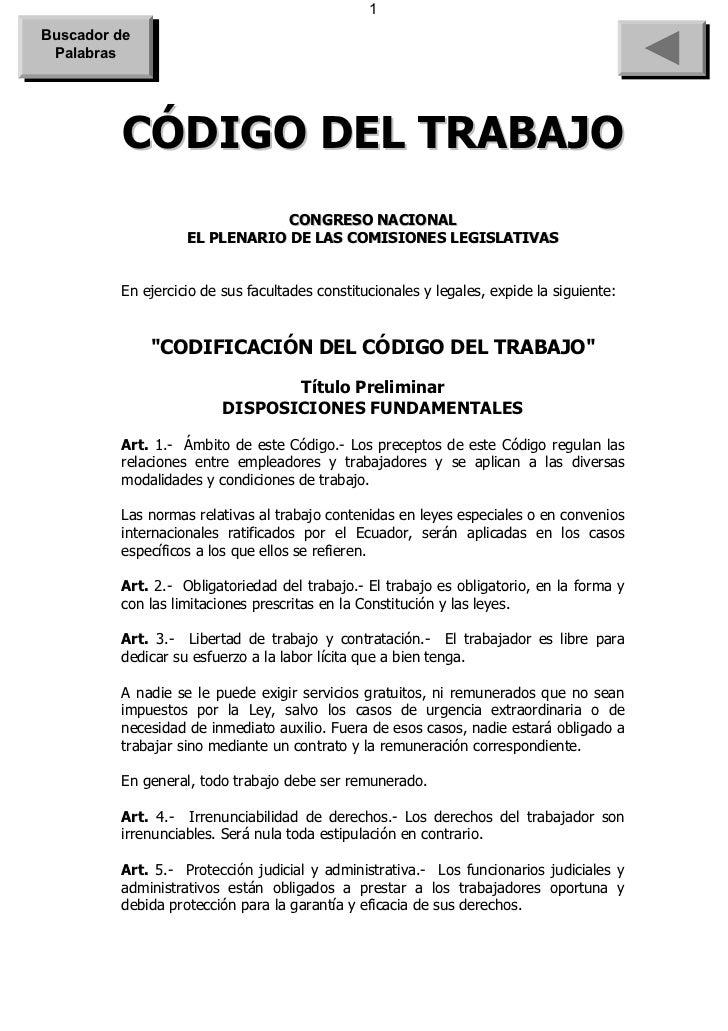 1Buscador de Palabras         CÓDIGO DEL TRABAJO                               CONGRESO NACIONAL                   EL PLEN...