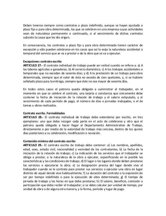 Codigo de trabajo guatemalteco con epigrafes for Modelo de contrato de servicio domestico