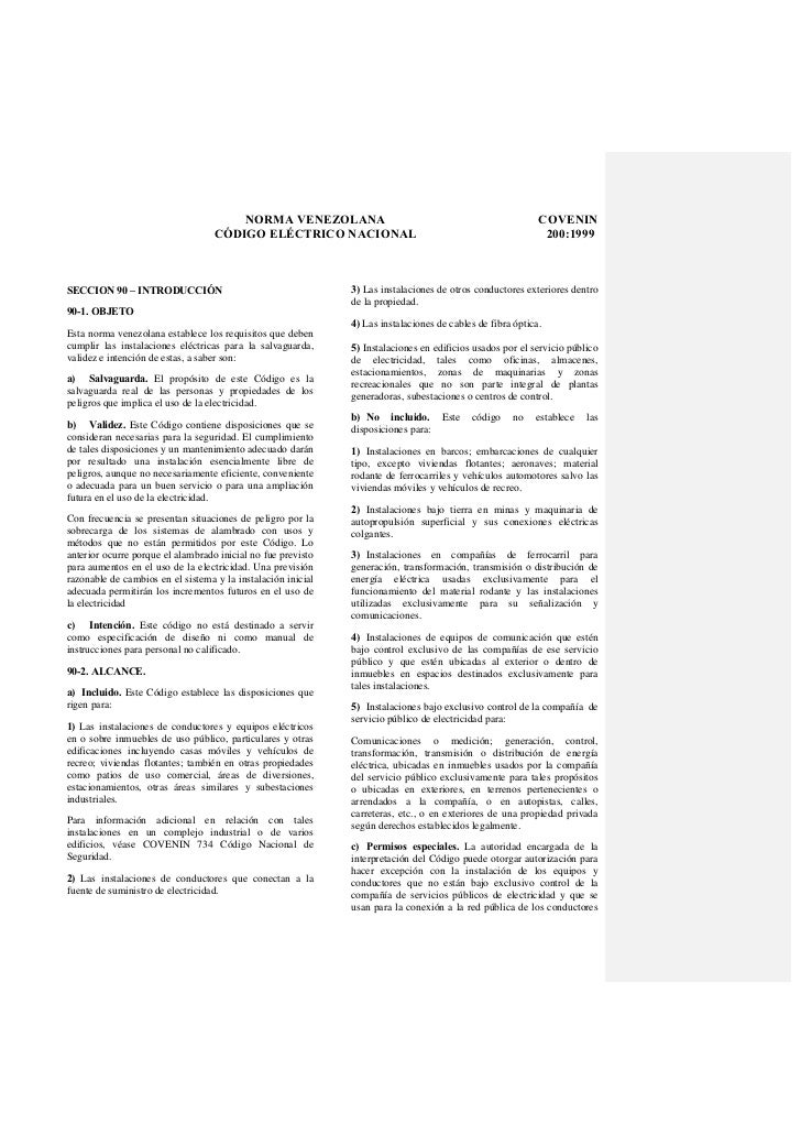 NORMA VENEZOLANA                                                     COVENIN                                   CÓDIGO ELÉC...