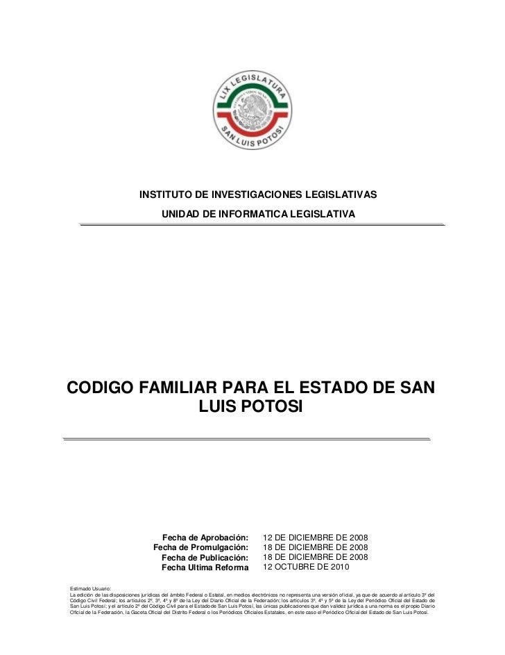 Codigo familiar  San Luis Potosi