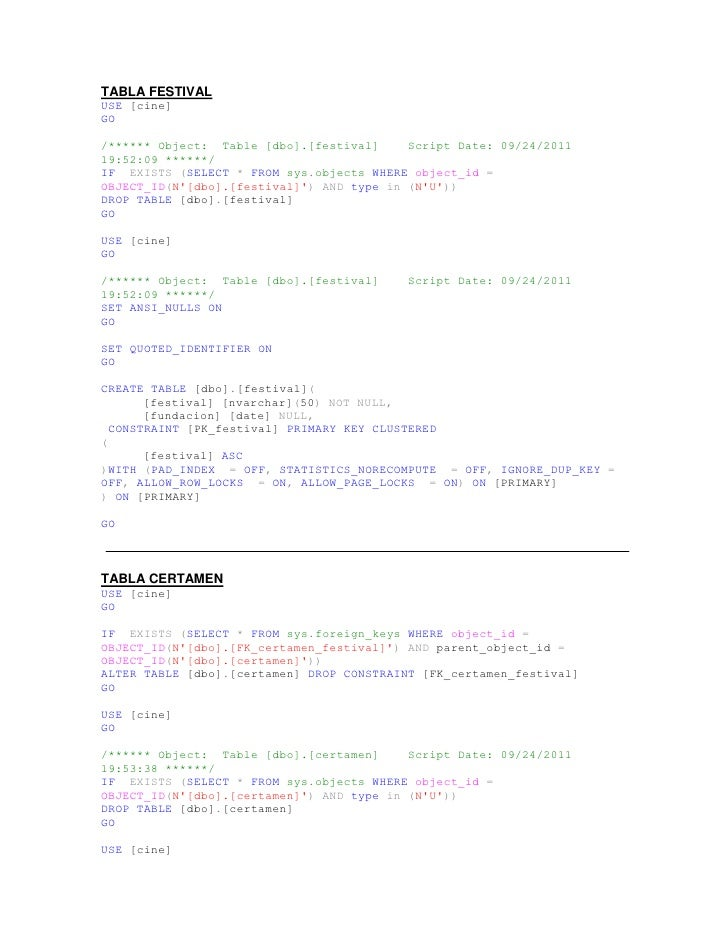 TABLA FESTIVAL<br />USE [cine]<br />GO<br />/****** Object:  Table [dbo].[festival]    Script Date: 09/24/2011 19:52:09 **...