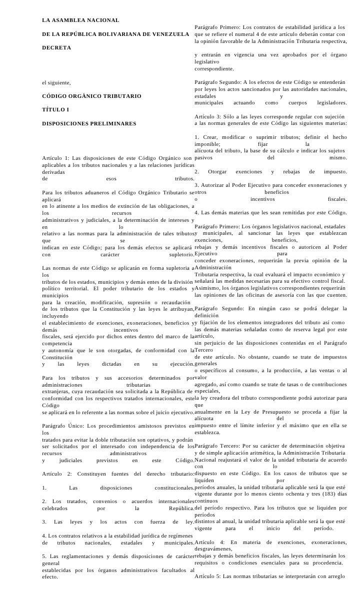 LA ASAMBLEA NACIONAL                                          Parágrafo Primero: Los contratos de estabilidad jurídica a l...