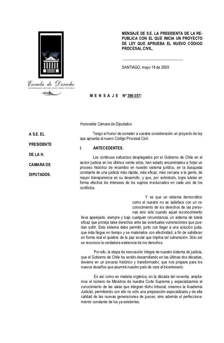 MENSAJE DE S.E. LA PRESIDENTA DE LA RE-                                        PUBLICA CON EL QUE INICIA UN PROYECTO      ...