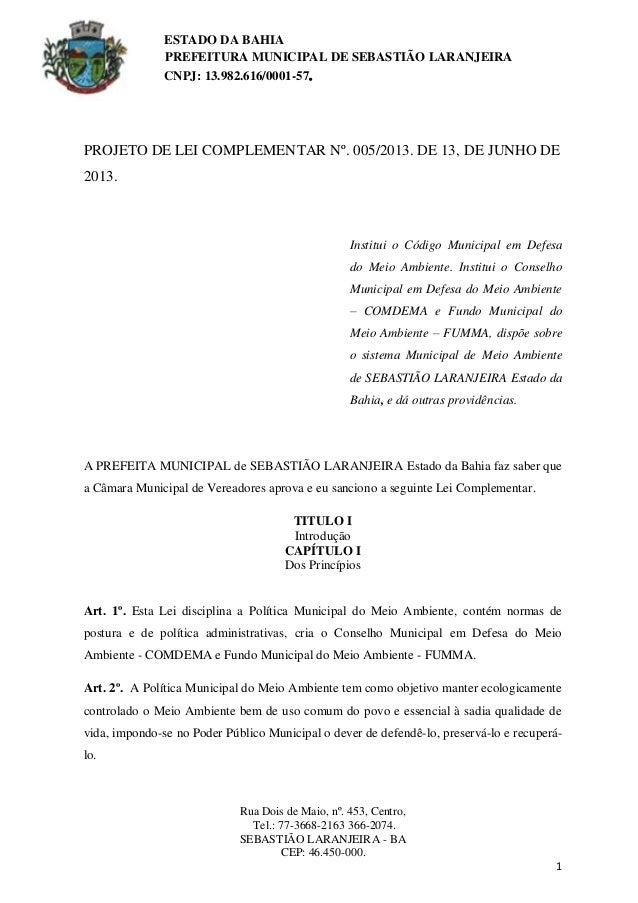 Projeto de Lei Complementar 005/2013 de 13/06/2013