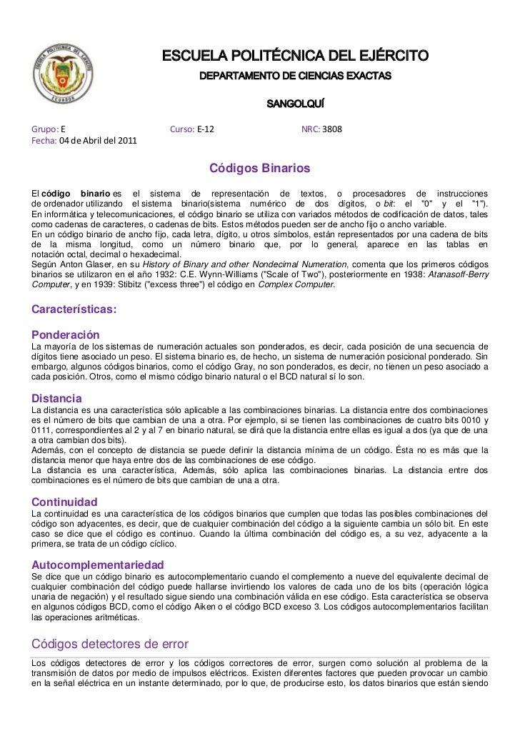 00ESCUELA POLITÉCNICA DEL EJÉRCITO<br />DEPARTAMENTO DE CIENCIAS EXACTAS<br />SANGOLQUÍ<br />Grupo: E                     ...