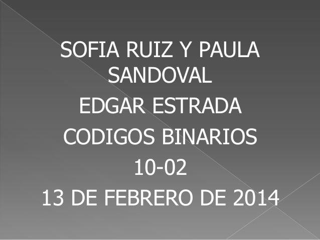 SOFIA RUIZ Y PAULA SANDOVAL EDGAR ESTRADA CODIGOS BINARIOS 10-02 13 DE FEBRERO DE 2014