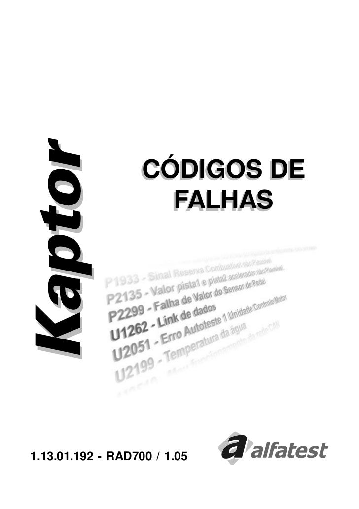 Kaptor                  CÓDIGOS DE                    FALHAS1.13.01.192 - RAD700 / 1.05