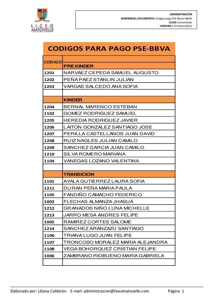 ADMINISTRACIÓN                                                          NOMBREDEL DOCUMENTO: Códigos pago PSE Banco BBVA  ...